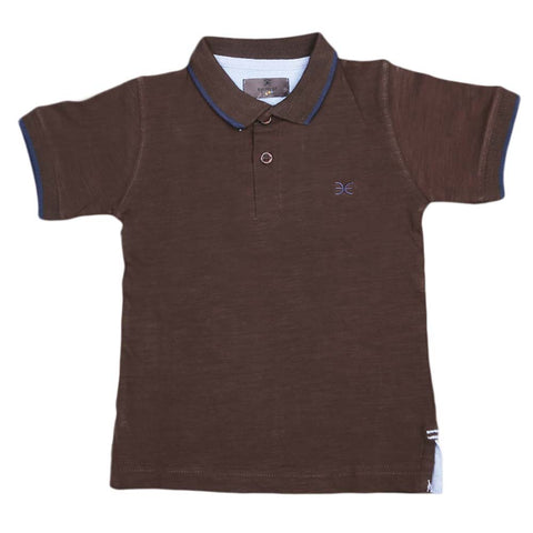 Boys Eminent Half Sleeves T-Shirt - Dark Brown