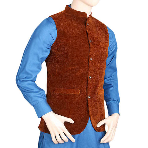 Men's Velvet Waist Coat - Brown