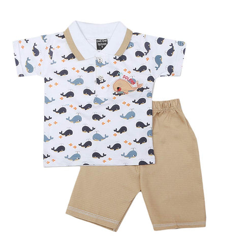 Boys Half Sleeves 2 Pcs Suit - White