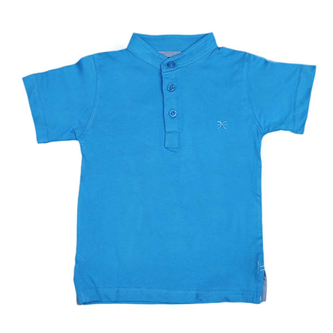 Boys Eminent Sherwani Collar T-Shirt - Blue