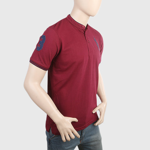 Men's Pique Band Collar Polo T-Shirt - Maroon
