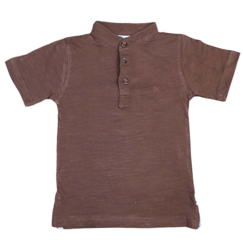 Boys Eminent Sherwani Collar T-Shirt - Dark Brown