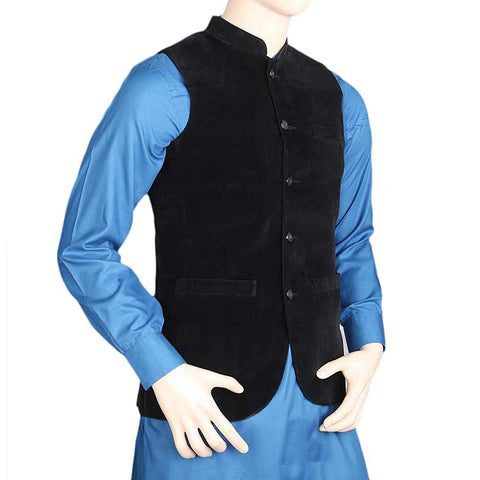 Men's Velvet Waist Coat - Black