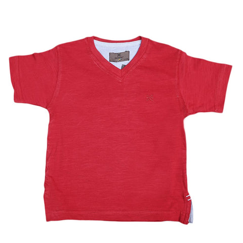 Boys Eminent V-Neck T-Shirt - Red