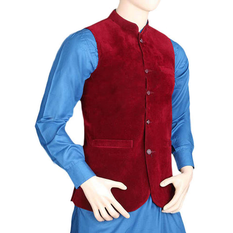Men's Velvet Waist Coat - Maroon