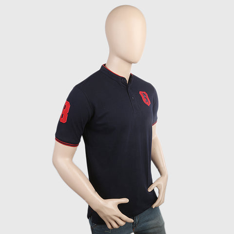 Men's Pique Band Collar Polo T-Shirt - Navy Blue