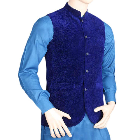 Men's Velvet Waist Coat - Royal Blue