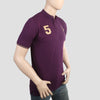 Men's Pique Band Collar Polo T-Shirt - Purple
