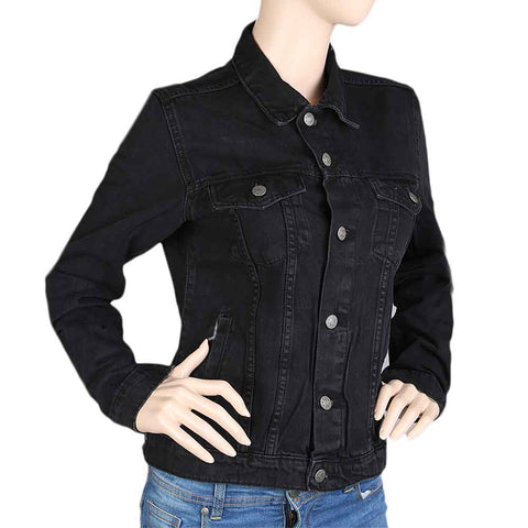 Women's Denim Full Sleeves Jacket - Black