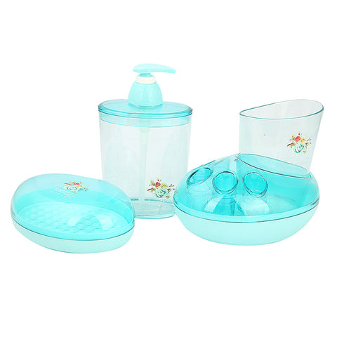 Bathroom Toiletries Set 4 Pcs 6212 - Cyan