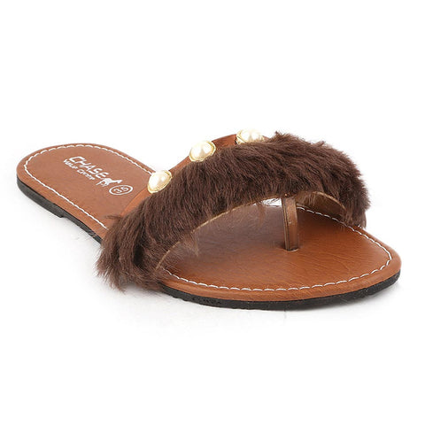 Girls Slipper (001-A) - Brown