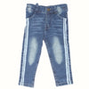 Girls Denim Pant Side Tape - Blue
