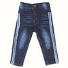 Girls Denim Pant Side Tape - Dark Blue