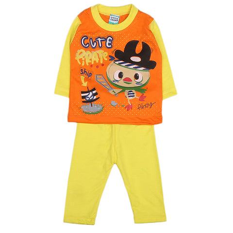 Boys Full Sleeves 2 Pcs Suit - Yellow