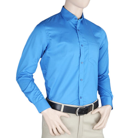 Men's Plain Formal Shirt - Blue - test-store-for-chase-value