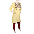 Women's Embroidered 2 Piece Suit - Yellow