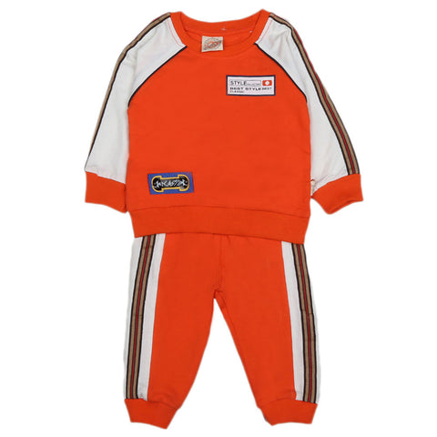 Boys Full Sleeves 2 Pcs Suit - Orange