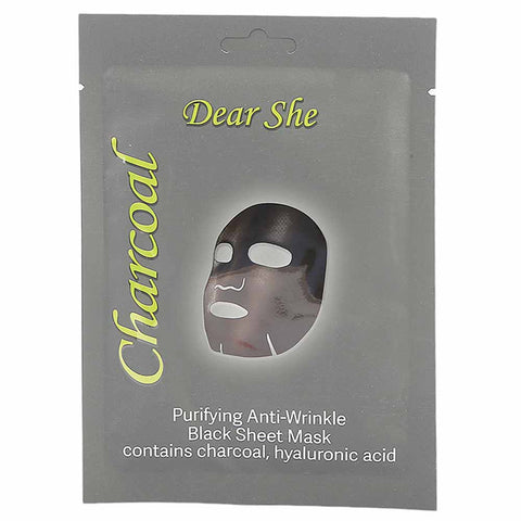 Dear She Charcoal Purifying Anti-Wrinkle Black Mask - 25g