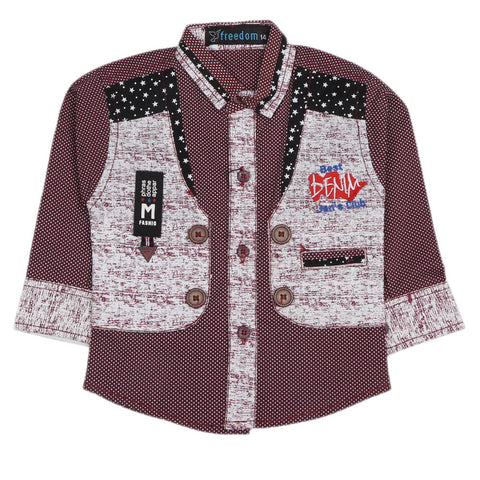 Boys Full Sleeves Casual Shirt - Maroon