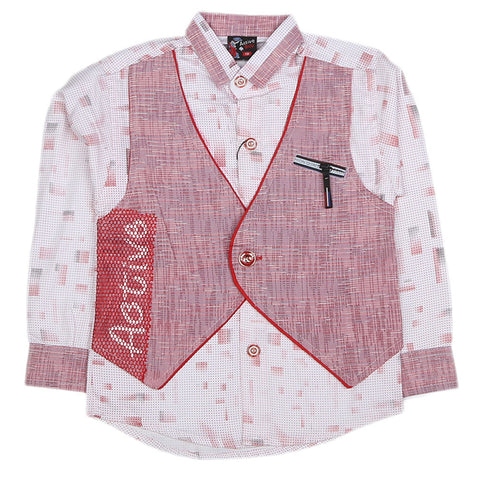 Boys Full Sleeves Casual Shirt - Pink