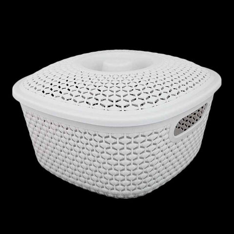 Plastic Basket With Cover - Grey