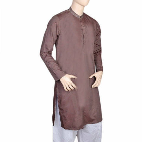 Eminent Embroidered Trim Fit Kurta For Men - Brown