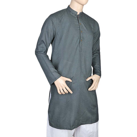 Eminent Fancy Trim Fit Kurta For Men - Steel Green