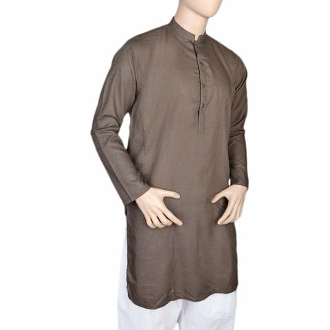 Eminent Fancy Trim Fit Kurta For Men - Olive Green