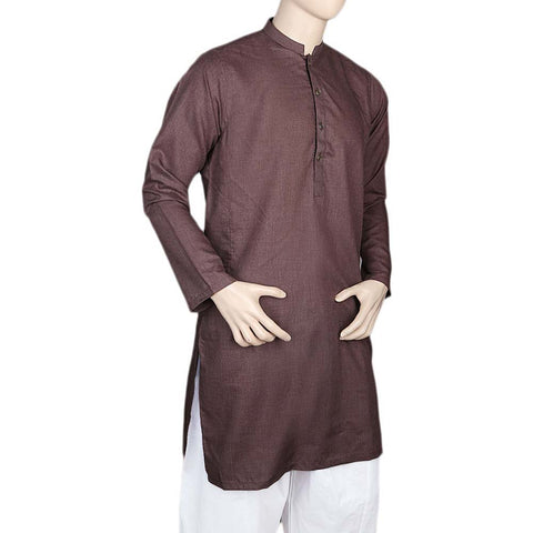 Eminent Fancy Trim Fit Kurta For Men- Maroon