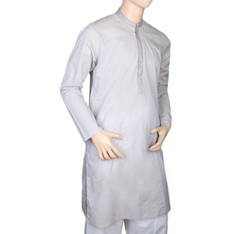 Eminent Embroidered Trim Fit Kurta For Men - Light Grey