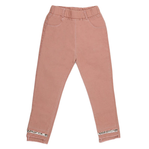 Girls Cotton Bermuda Pant - Peach