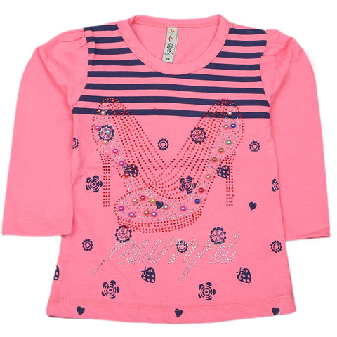 Girls Full Sleeve Printed T-Shirt - Dark Pink