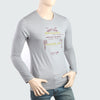 Men's Round Neck Full Sleeves Printed T-Shirt - Grey