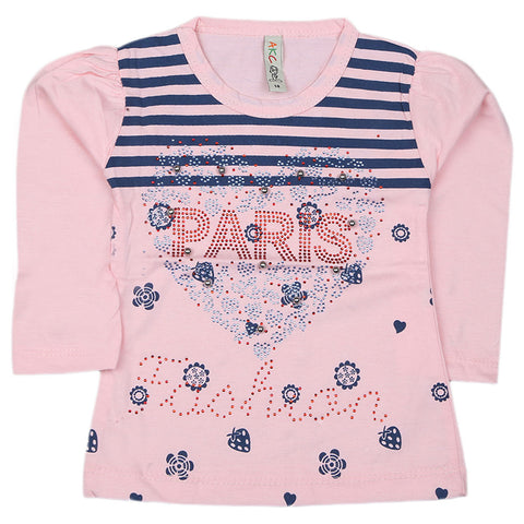 Girls Full Sleeve Printed T-Shirt - Pink