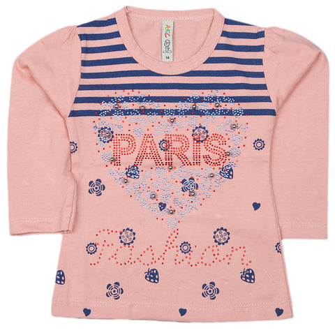 Girls Full Sleeve Printed T-Shirt - Peach