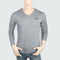 Men's V Neck Full Sleeves T-Shirt - Grey