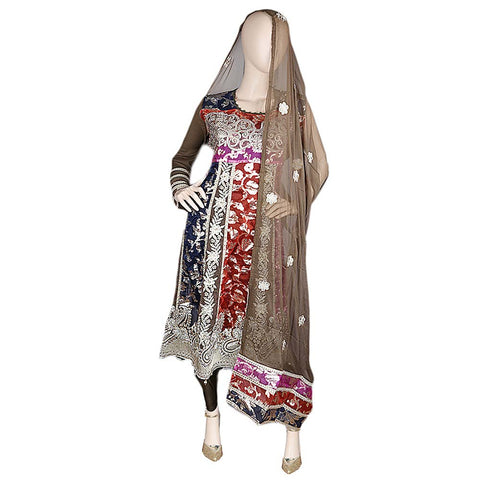 Bridal Dress Embroidered Brocia Chiffon 3 Piece Semi-Stitched Suit - Brown