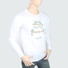 Men's Round Neck Full Sleeves Printed T-Shirt - White