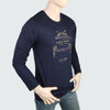 Men's Round Neck Full Sleeves Printed T-Shirt - Navy Blue