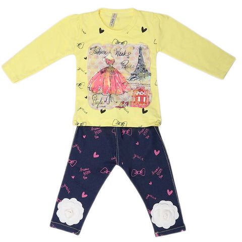 Girls Full Sleeves 2 Piece Suit - Yellow