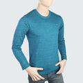 Men's Round Neck Full Sleeves T-Shirt - Aqua