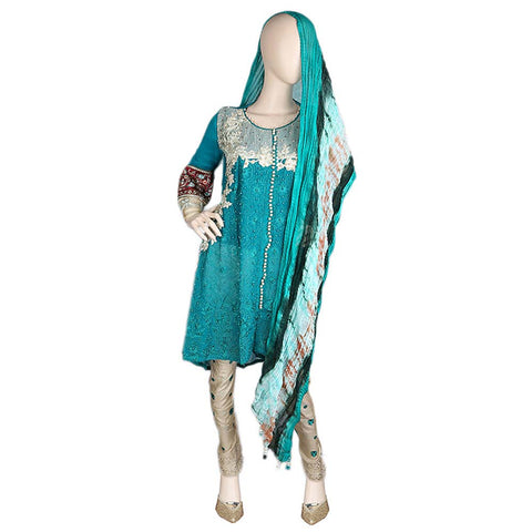 Bridal Dress Embroidered Chiffon 3 Piece Semi-Stitched Suit - Green