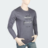 Men's Round Neck Full Sleeves Printed T-Shirt - Dark Grey