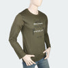 Men's Round Neck Full Sleeves Printed T-Shirt - Green