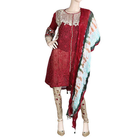 Bridal Dress Embroidered Chiffon 3 Piece Semi-Stitched Suit - Maroon