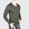 Men's V Neck Full Sleeves T-Shirt - Green