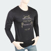 Men's Round Neck Full Sleeves Printed T-Shirt - Black