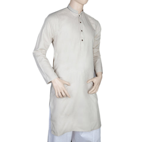 Mashriq EMB Kurta For Men - Light Gray