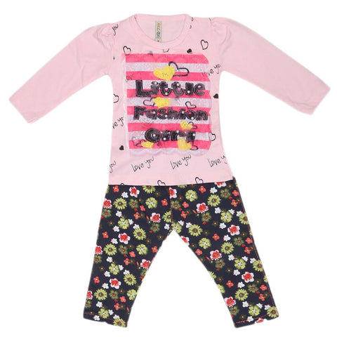 Girls Full Sleeves 2 Piece Suit - Light Pink