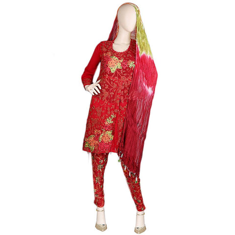 Bridal Dress Embroidered Chiffon 3 Piece Semi-Stitched Suit - Red